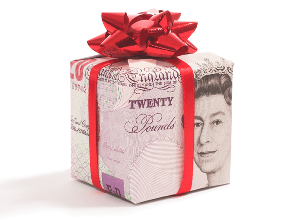 Money Boxed up as a Gift with Red Ribbon tied around it