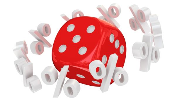 A big red die surrounded by percentage symbols