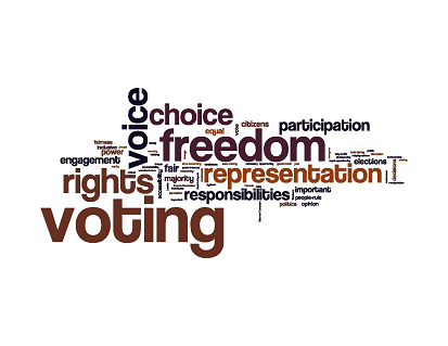A jumble of words representing Democracy - a feature of right-to-manage