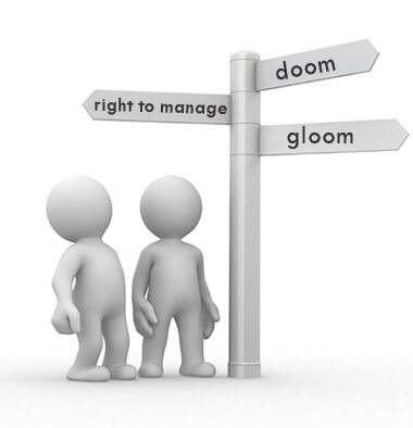 Two faceless and sexless characters looking at a signpost with doom and gloom one side and right-to-manage on the other