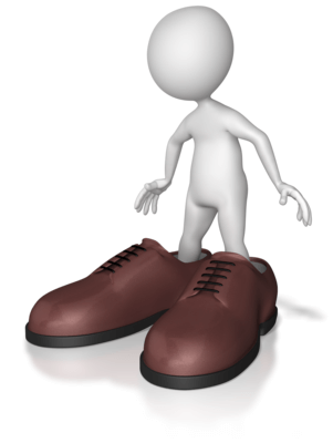A faceless and sexless person stepping into over-sized shoes