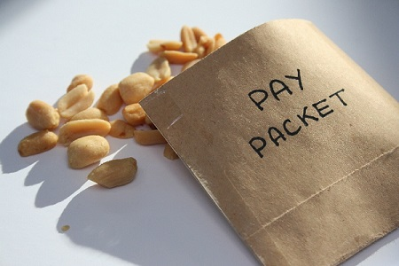 Brown pay packet filled with peanuts